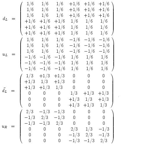6x6 idempotent matrices representing quarks