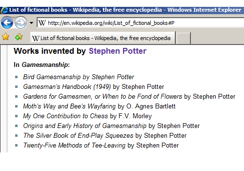 "Wikipedia entry on Stephen Potter\'s ""Gamesmanship\"" showing F. V. Morley\'s book as fictitious"