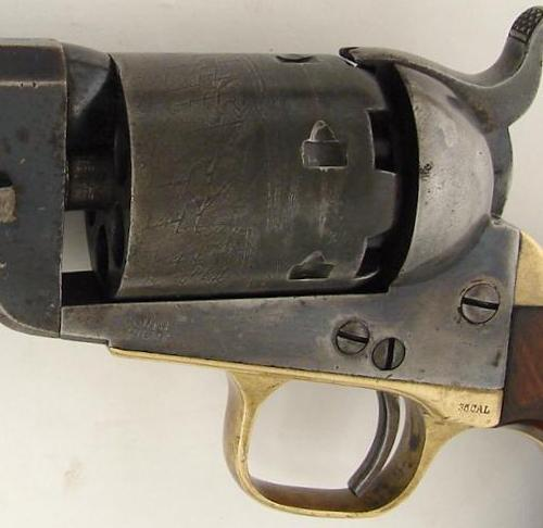 Colt Navy Revolver showing battle of Campeche engraving